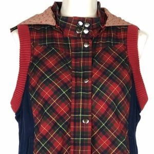 Flying Tomato Red Plaid Vest Hoodie